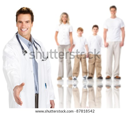 Smiling medical family doctor man. Isolated over white background. - stock photo
