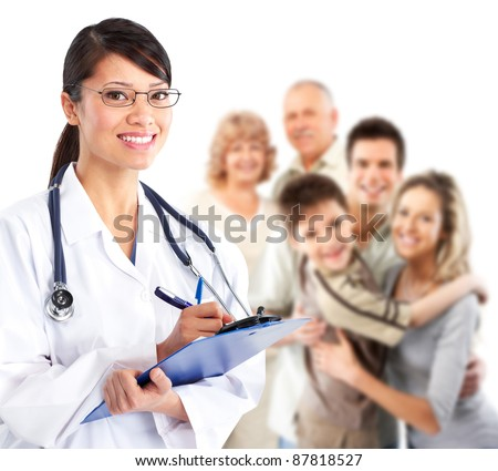 Smiling medical family doctor woman. Isolated over white background. - stock photo
