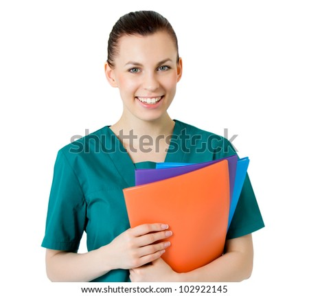 Smiling medical female doctor - stock photo