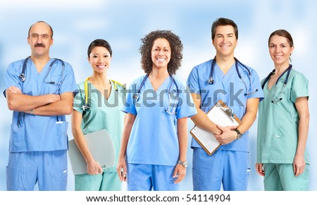 Smiling medical people with stethoscopes. Doctors and nurses - stock photo