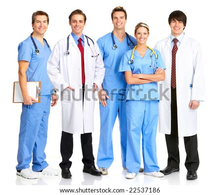 Smiling medical people with stethoscopes. Isolated over white background - stock photo