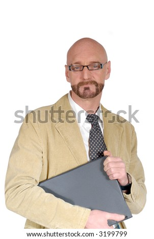 Smiling middle aged bearded attractive businessman with laptop. Business, communication concept.