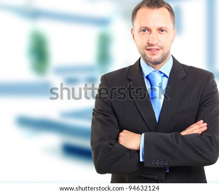 Smiling middle aged businessman