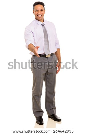 smiling middle aged businessman offering handshake on white background - stock photo