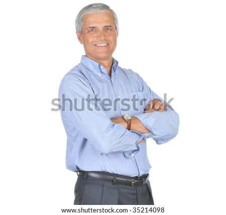 Smiling Middle Aged Businessman With Arms Crossed isolated on white
