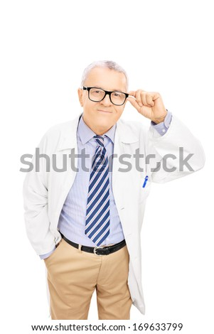 Smiling middle aged doctor with glasses, isolated on white background - stock photo