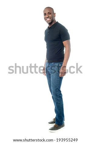 Smiling middle aged man in casual attire, isolated on white - stock photo