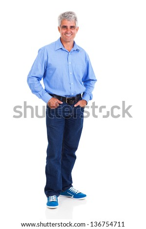 smiling middle aged man standing on white background - stock photo