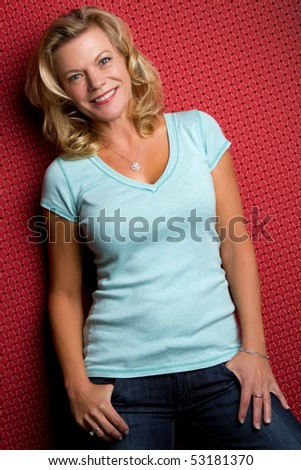 Smiling Middle-Aged Woman - stock photo