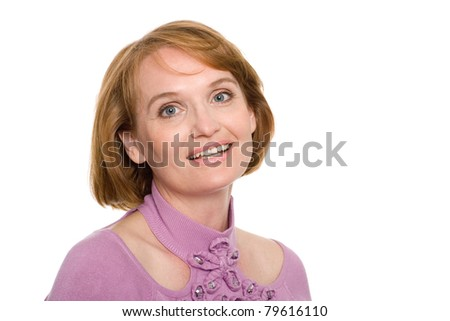 Smiling middle aged woman. Isolated on white. - stock photo