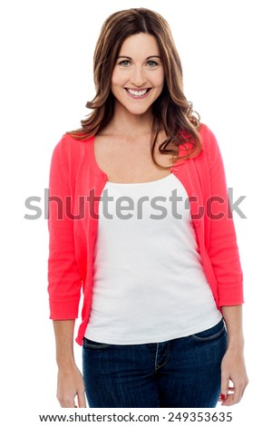 Smiling middle aged  woman posing casually - stock photo