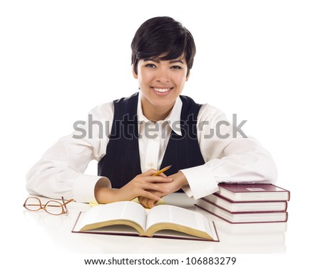 Smiling Mixed Race Female Student with Books Isolated on a White Background. - stock photo