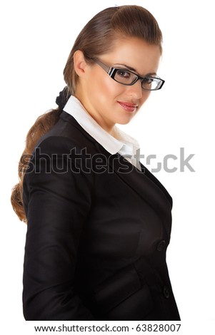 smiling modern business woman with eyeglasses