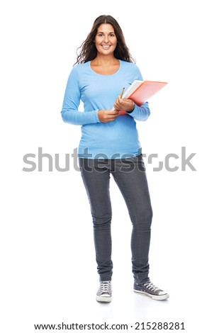 Smiling Modern Young College Student Woman Isolated - stock photo