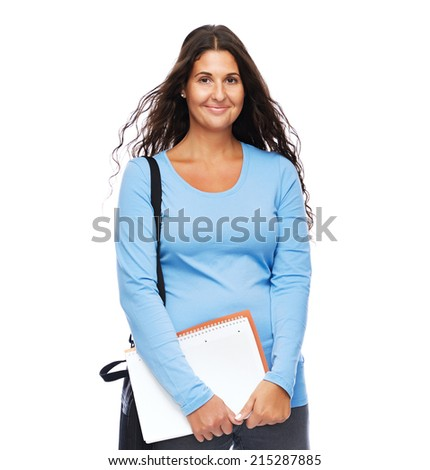 Smiling Modern Young Woman Standing full Length Isolated - stock photo