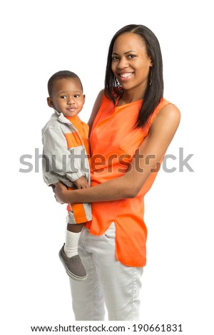 Smiling Mom Holding Baby Standing Portrait Isolated on White Background