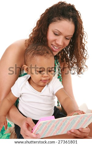 Smiling Mother and Baby Boy Reading Book Together on Isolated White background - stock photo