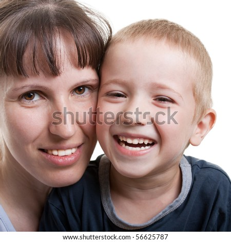 Smiling mother and little child - family happiness