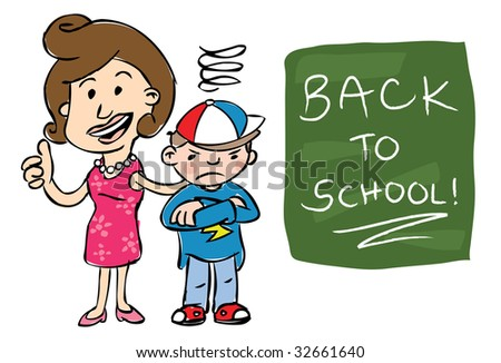 "Smiling mother giving camera thumbs up standing beside grumpy son with ""Back to School!"" text on chalkboard - stock photo"