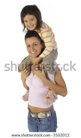 Smiling mother with daughter on back. Isolated on white. Looking at camera - stock photo