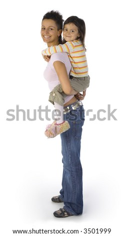 Smiling mother with daughter on back. Isolated on white. Looking at camera, whole bodies. Side view - stock photo