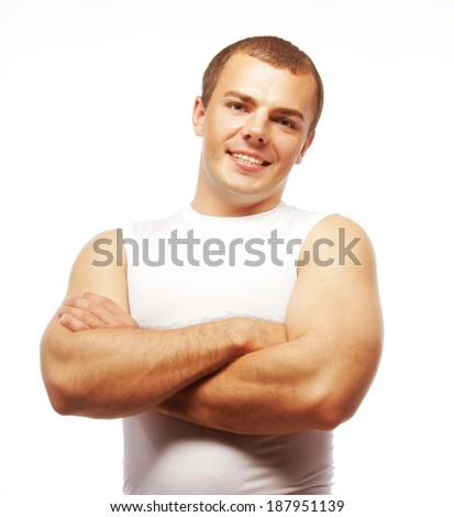 smiling muscular caucasian man - stock photo