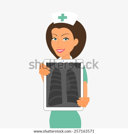 Smiling nurse holding tablet pc with x-ray. - stock photo