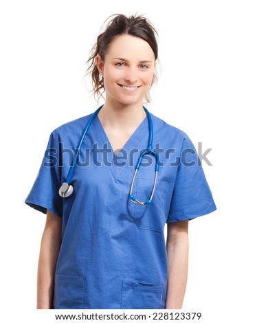 Smiling nurse isolated on white  - stock photo