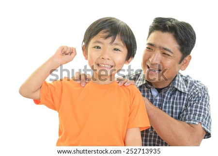 Smiling  of father and little boy