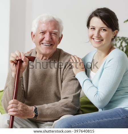 Smiling old man - stock photo
