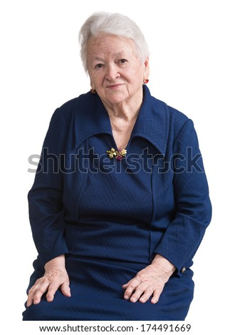 Smiling old woman on a white background
