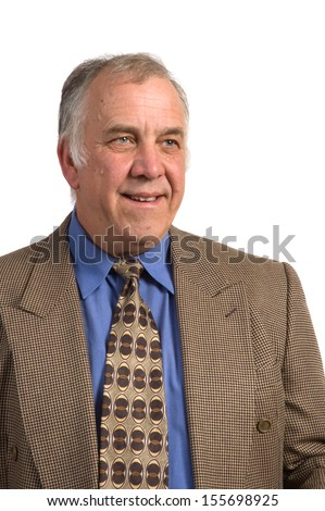 Smiling older businessman in a sports coat and tie over a white background