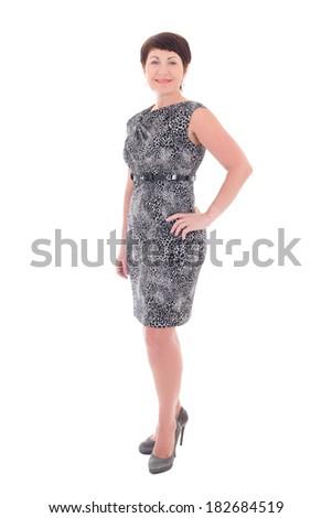 smiling older woman isolated on white background - stock photo