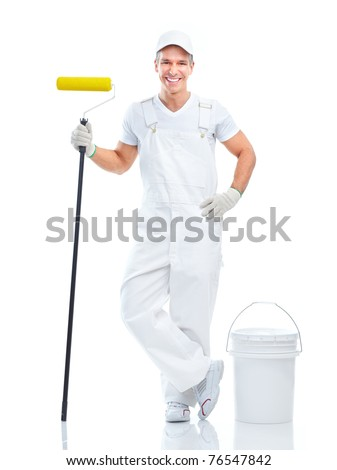 Smiling painter man in white uniform. Isolated over white background - stock photo