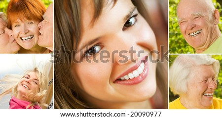 Smiling people collage - stock photo