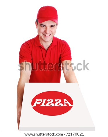 Smiling pizza delivery man in red uniform holding the pizza box on white background