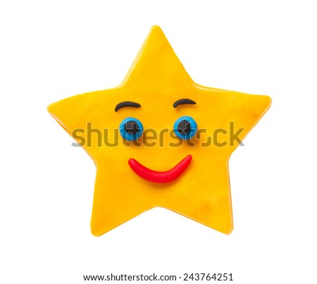 Smiling plasticine star isolated on white background - stock photo