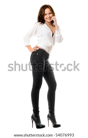 Smiling playful woman talking on the phone. Isolated - stock photo
