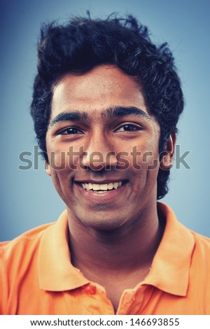 Smiling portrait face of real man with retro colour and high detail - stock photo