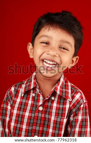 Smiling portrait of a small boy - stock photo