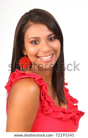 Smiling portrait of stunning girl in red top