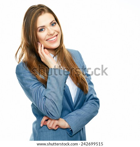 smiling positive business woman isolated on white background. Studio portrait. Long hair.