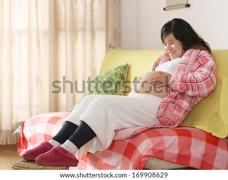 Smiling Pregnant Woman Sitting on the Sofa - stock photo