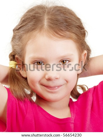 Smiling preschool child in red vest, isolated on white background. - stock photo