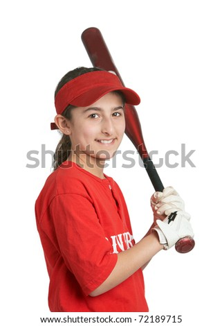 Smiling preteen sports girl in softball uniform - stock photo