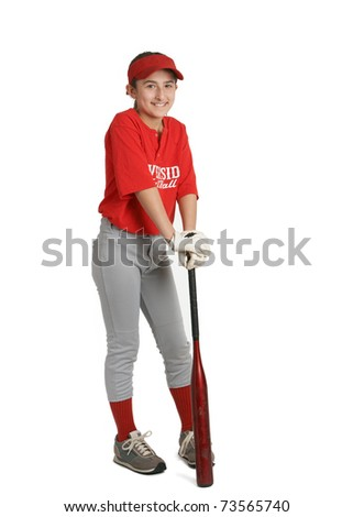 Smiling preteen sports girl with bat in baseball uniform - stock photo