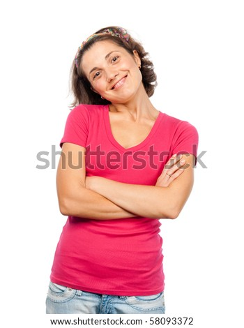 Smiling pretty girl with folded hands - stock photo
