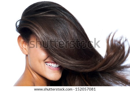 Smiling pretty woman with long straight hair - stock photo