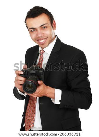 Smiling professional photographer - stock photo