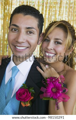 Smiling Prom Couple - stock photo